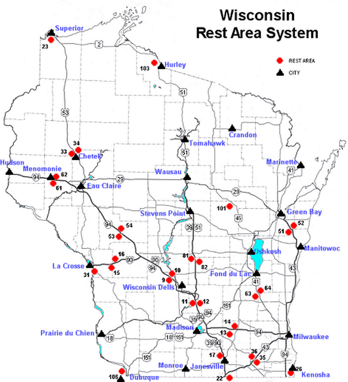 wisconsin rest area map